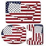 3 Piece Bath Mat Rug Set,American-Flag-Decor,Bathroom Non-Slip Floor Mat,America-Continent-Shaped-Flag-Martial-International-World-Glory-Print,Pedestal Rug + Lid Toilet Cover + Bath Mat,Navy-Red