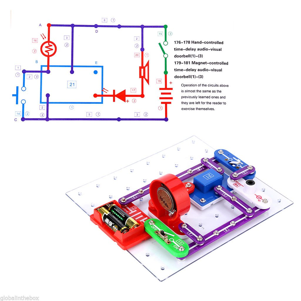 Vfeng 335 Circuit Kits For Kids Experiment Science Ac Box Electrical Training Equipment Basic Electric With 31 Snap Parts Educational Kit Toy Boys Girls