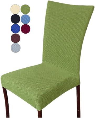 MINGZJ 4 Pezzi Fodere coprisedia,Decorativo Copertura della Sedia,Tessuto Elastico Elasticizzato per Una Sedia Universale, Verde