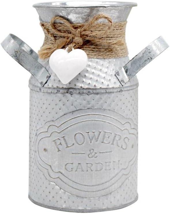 Brownrolly 2 jarras de metal vintage con asa, macetas de riego de barril, macetas decorativas para decoración de boda, hogar, bar, 2 unidades