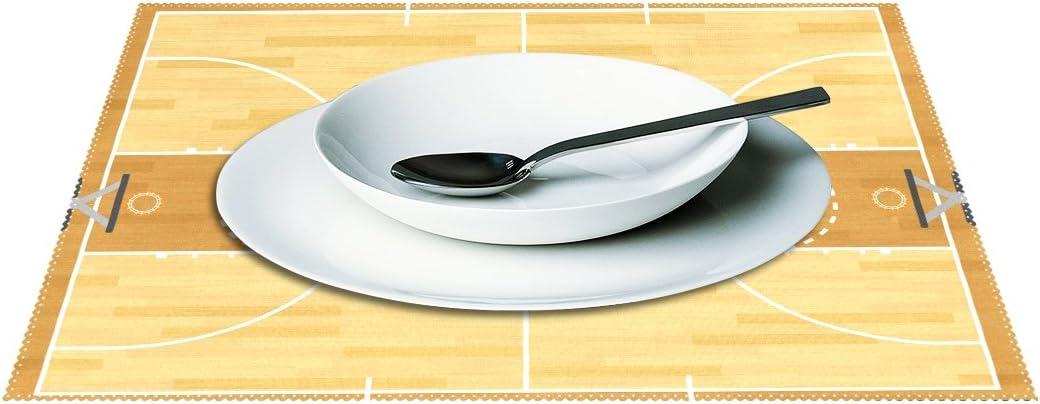 yochoice Vintage Cartoon cancha de baloncesto Placa de mantel individual soporte juego de 1, elegante poliéster manteles de mesa pantalla para cocina comedor 12