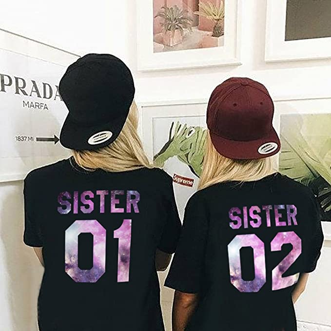 Shirts Best Friends Two Girls T Shirt Print Sister 01 02 Shirt 2 Pieces Short Sleeve Tees at Amazon Womens Clothing store: