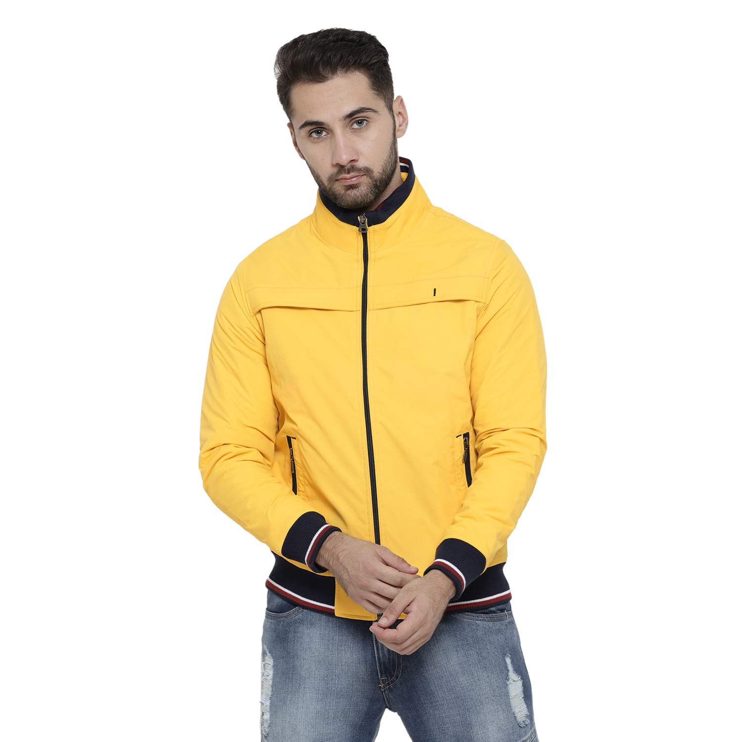 Monte Carlo Yellow Solid Polyester Polo Collar Jackets