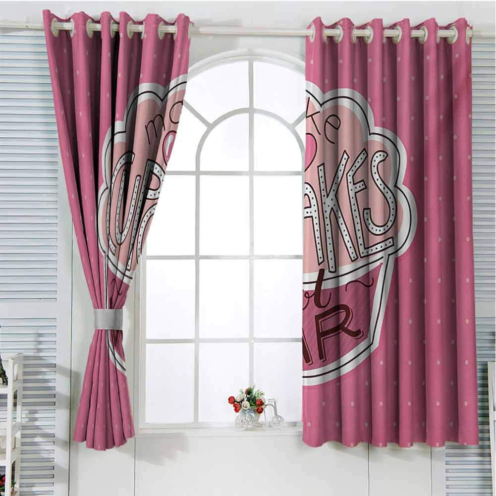 Gloria Johnson Funny Wordsblackout Curtains for bedroomGrommet Window CurtainMake Cupcakes Motivational Lettering on Yummy Pastry and Polka DotswindowPink Dried Rose Peach72 x 72 inch by Gloria Johnson