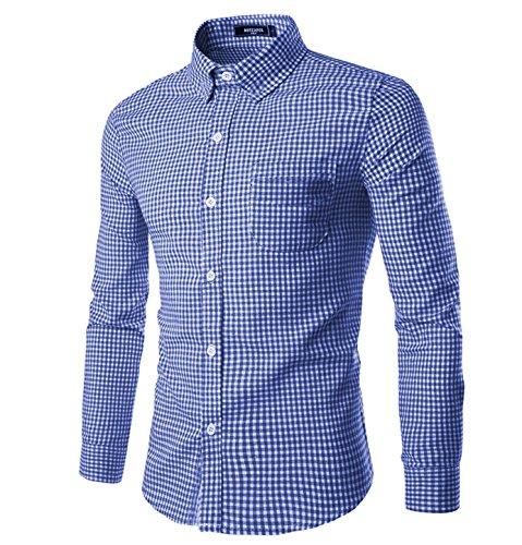 (NUTEXROL Men Plaid Cotton Casual Slim Fit Long Sleeve Button Down Dress Shirts Royal Blue Small)