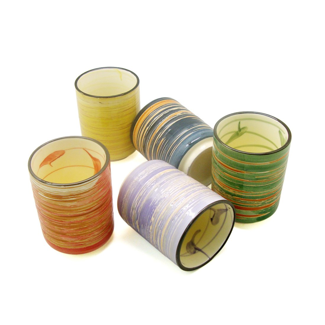 Ziiyan Set of 5 Traditional Colour Stripesl Designs Japanese Tea Cup, 7oz