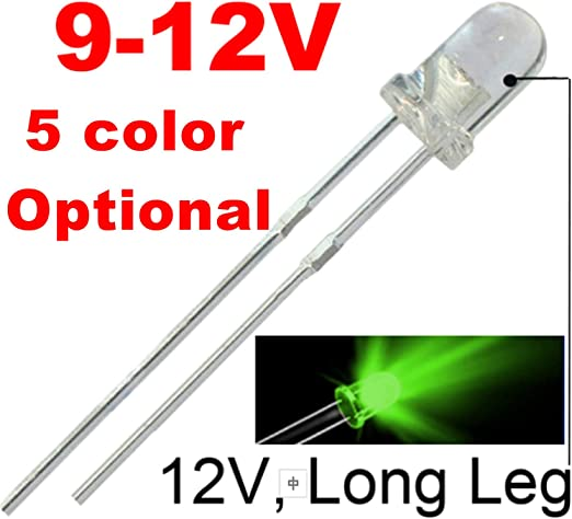 5 x Pre-Wired Green LED 5mm Ultra Bright 1st CLASS POST 9V ~ 12V
