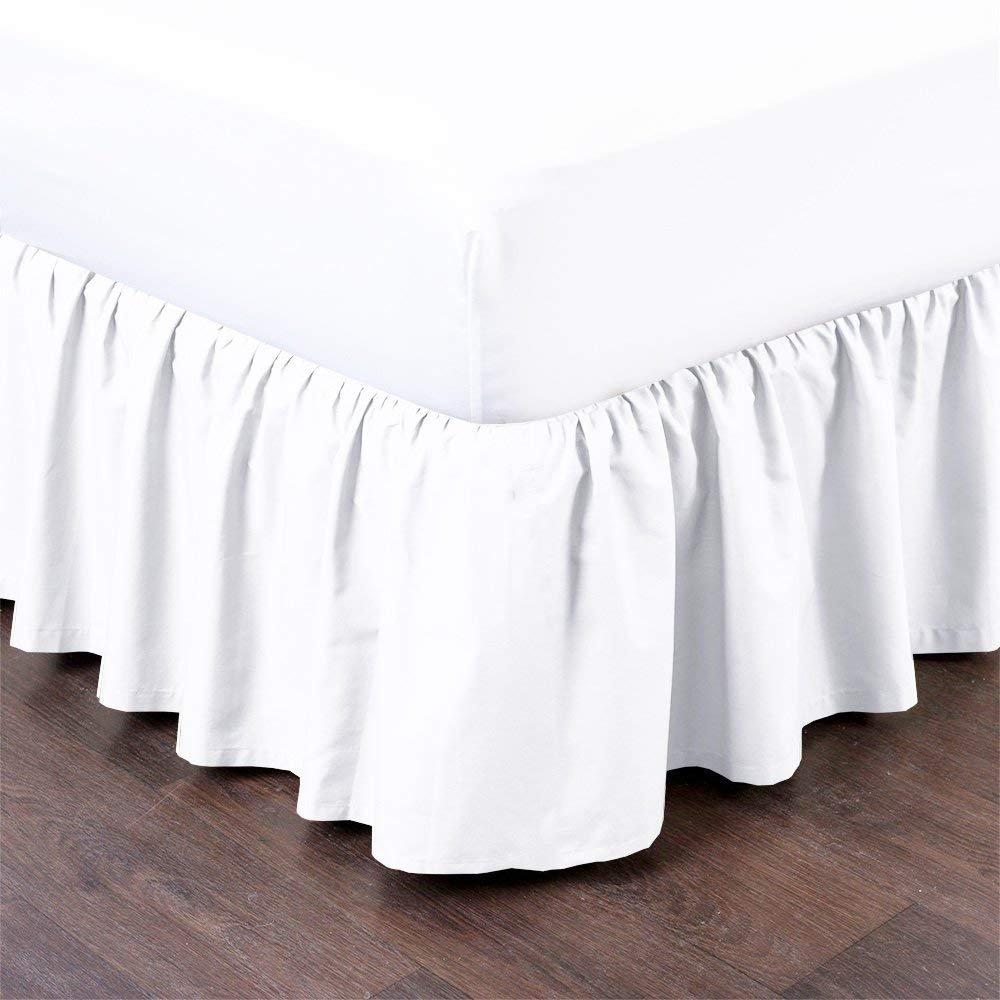 Uniwaresal コットンフリル付きベッドスカート (クイーン、ホワイト) 18インチ ドロップダスト フリル プラットフォーム付き、しわ、色褪せ耐性 B07KD72T2N