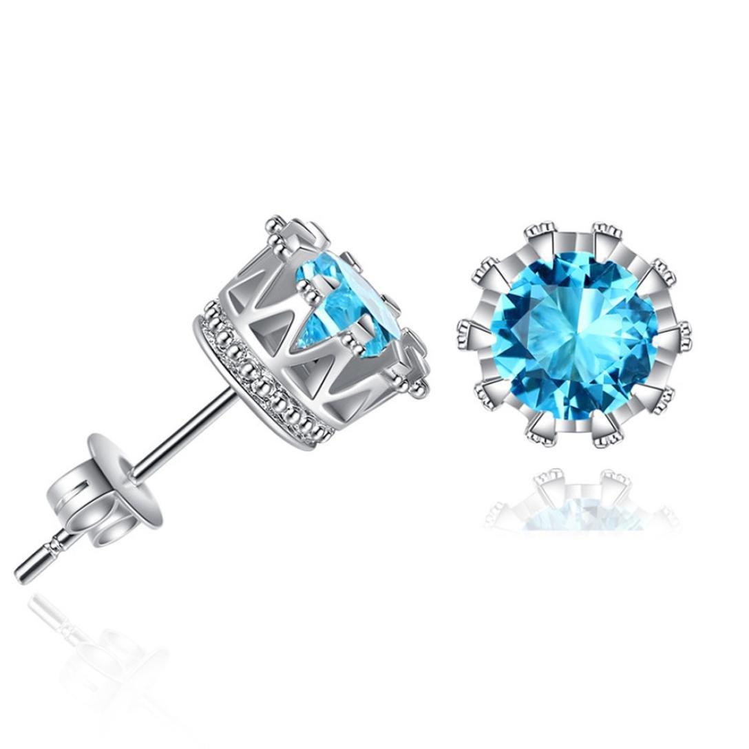 Women Earrings,Lethez Women's Crystal Rhinestone Crown Stud Earrings Earbob Earrings Jewelry (Blue)