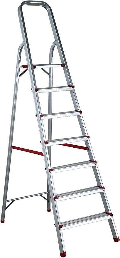 Escalera de aluminio, de pintor, con 7 peldaños: Amazon.es: Bricolaje y herramientas