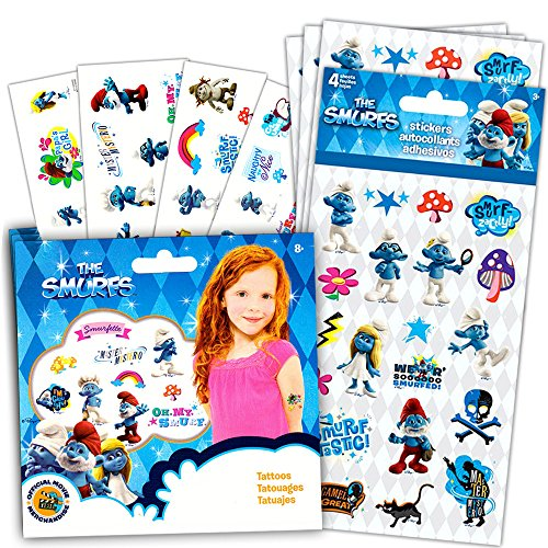Smurfs Stickers and Tattoos Party Favors Pack -- 104 Stickers and 25 Temporary Tattoos (Smurf Party Supplies)