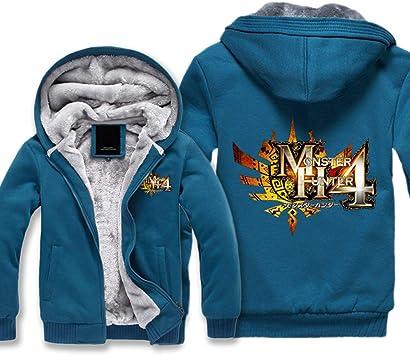 メンズフーディーフルジッパープリントモンスターハンター4サンダーウルフドラゴンベルベットパッド入りフード付きセーターコートフリースフーディー、冬に適しています