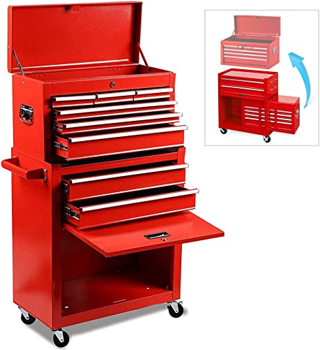 Rolling Tool Chest,Tool Chest with Wheels and Drawers,Removable 4-Wheels 2Pcs with Brake , Tool Chest,Tool Cabinet with 8 Drawers,Large Capacity Tool Box with Lock Red