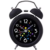 "Twin Bell Alarm Clock,Drillpro 4""Bedside Loud Alarm Clock-Old Fashioned 3D Digitals Quiet Non-ticking Sweep Second Hand-Quartz Analog Clock for Heavy Sleepers-Battery Operated (Not Included)"