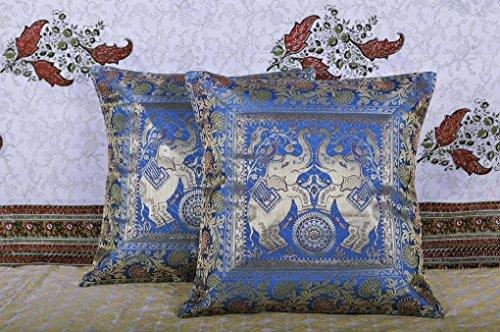 Rajasthani Elephant Work Design Silk Cushion Cover Christmas Gift Set Of 2 Pcs 16 X 16 Inches