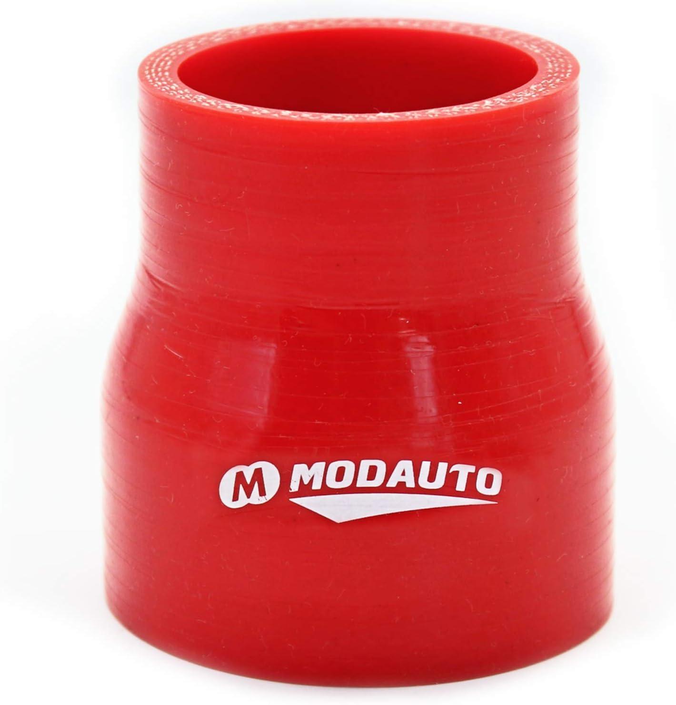 3//4 Capas Modelo E383B Alto Rendimiento Longitud 76mm Rojo MODAUTO Manguera de Silicona Acoplador Universal Tubo de Silicona Reductor Diametro 51-57 mm