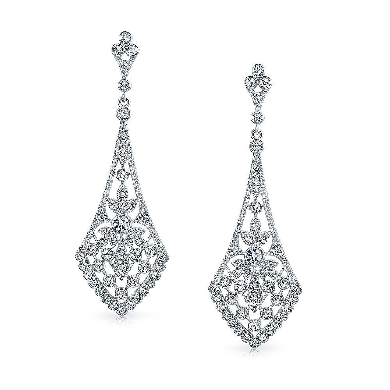 Amazon: Bling Jewelry Leaves Crystal Bridal Chandelier Earrings Rhodium  Plated: Dangle Earrings: Jewelry