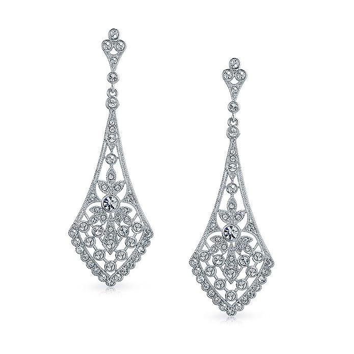 MASOP Elegant Leaves Drop Dangle Earrings Clear Cubic Zirconia, Chandelier Wedding Bridal Earrings