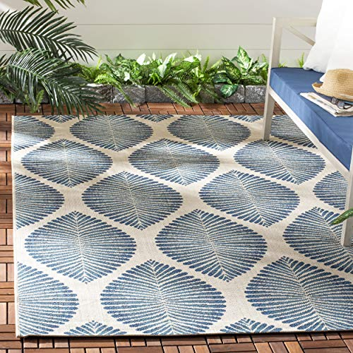 Safavieh CY7504-25812-6 Courtyard Collection Beige and Navy Indoor/Outdoor Area Rug, 6'7