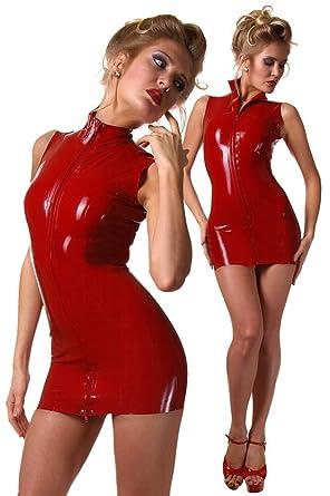 cce9c90fbf84 Flygaga Women Red Sleeveless Turtleneck Bodycon Pencil Mini Dress Latex  Catsuit (Medium): Amazon.co.uk: Clothing