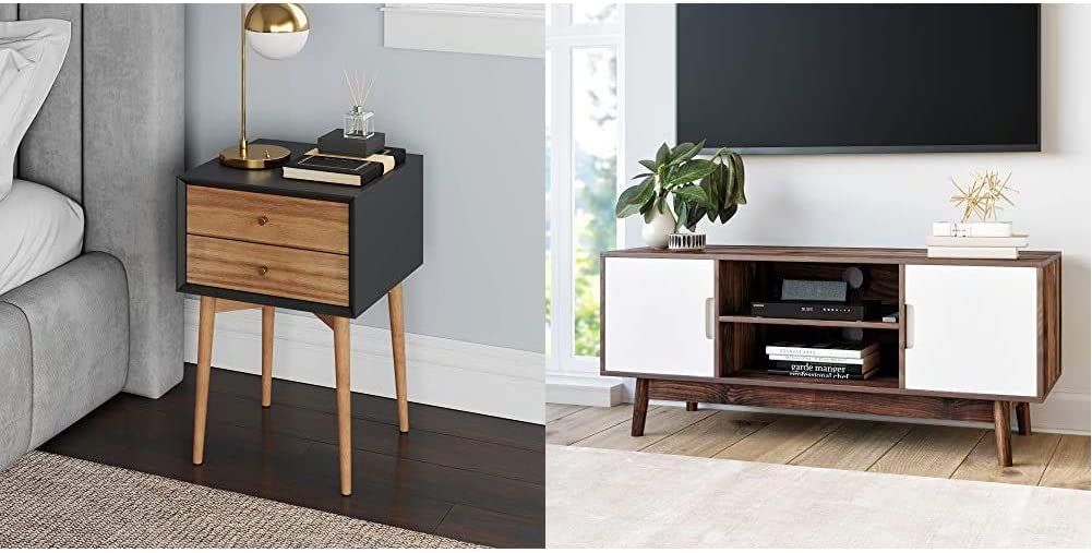 Nathan James Harper Mid-Century Side Table, 2-Drawer Wood Nightstand, Black/Brown & Wesley Scandinavian TV Stand Media Console with Cabinet Doors, Brown/White