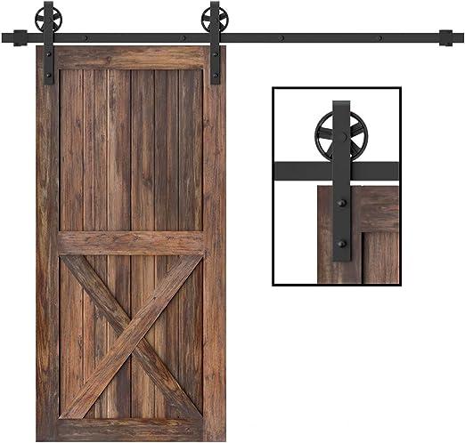 winsoon único madera Kit Negro Gran continúa rueda Roller puerta corrediza de granero Hardware armario de garaje de acero al carbono soporte de sistema de guía: Amazon.es: Bricolaje y herramientas