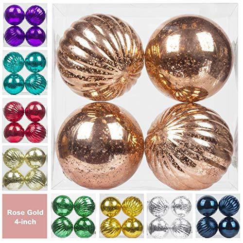 KI Store Christmas Ball Ornaments Hanging Tree Ornament Decorations 4 Large Shatterproof Vintage Mercury Balls(Rose Gold)
