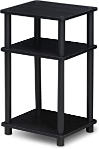 Furinno 11087AM/BK Just 3-Tier No Tools Tube end Table, 1-Pack, Americano/Black