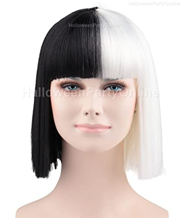 Halloween Party Online SIA Black White Wig Small Costume Cosplay HW 172