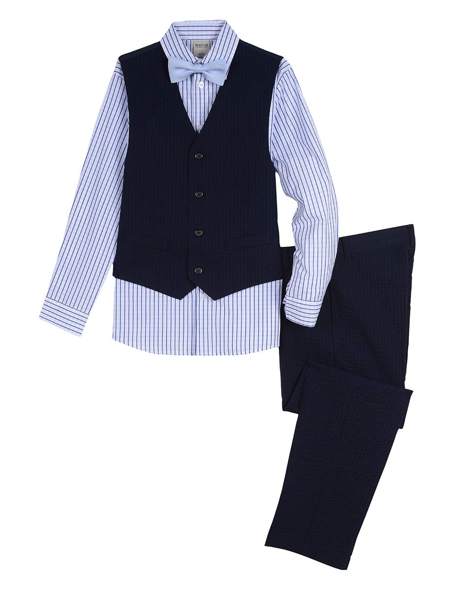 Kenneth Cole Boys 4-Piece Formal Vest Set, Tonal Navy 16