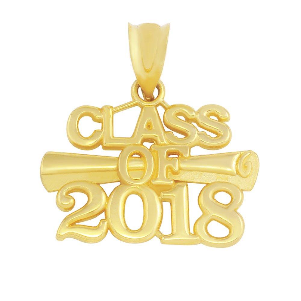 14k Yellow Gold Diploma Class of 2018 Graduation Charm Pendant