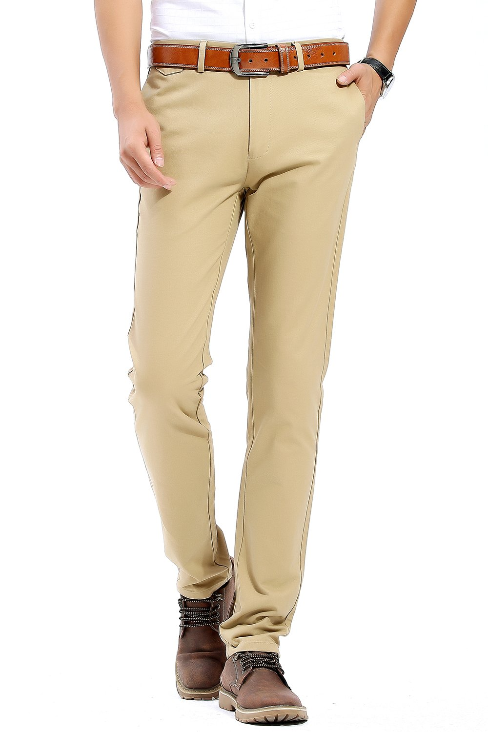INFLATION Men's 100% Cotton Slightly Stretchy Slim Fit Casual Pants, Flat Front Trousers Dress Pants for Men