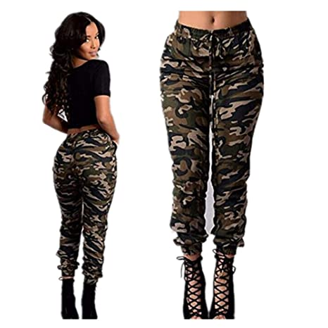 top quality super cute 100% top quality Iumer Women's Camouflage Trousers Slim Foot Trousers Army Camo Jeans  Stretch Slim Casual Cargo Pencil Pants