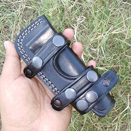 Ottoza Custom Handmade Black Right Hand Leather Knife Sheath for Bushcraft Knife - Hunting Knife - Camping Knife - Survival Knife - Skinning Knife Horizontal Scout/Cow - Buffalo Leather No:128 ()
