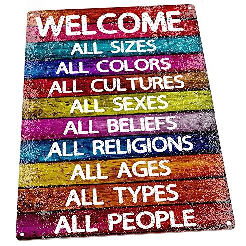 Homebody Accents All Welcome Metal Sign, Equality, Unity, Peace, Positive Living, Love Trumps -