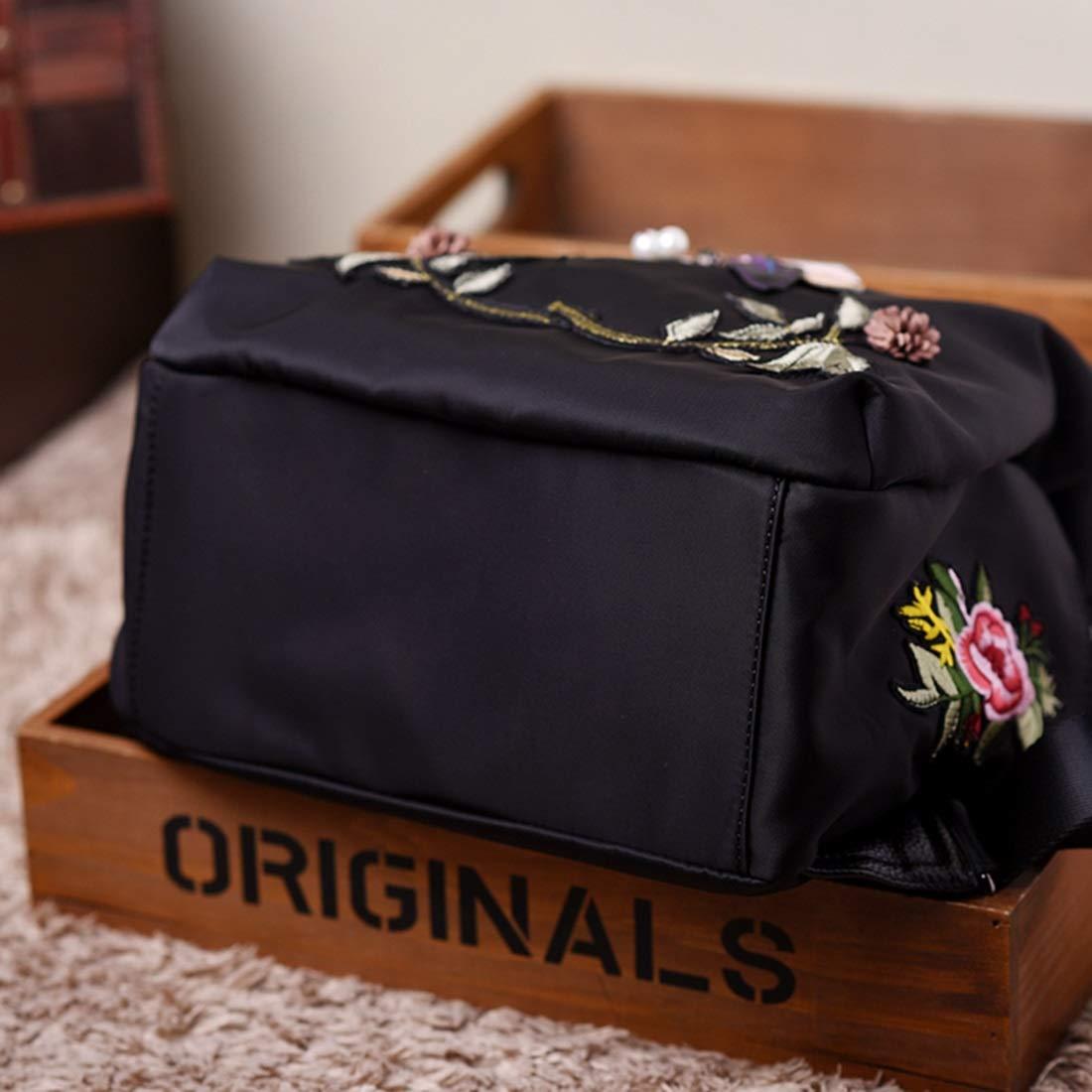 Haxibkena Oxford-Stoff mit lässigem Lederfrauen Besteickten Wasserdichten Rucksack (Farbe     schwarz) B07M7JHKWV Ruckscke Haltbar b0d2e7