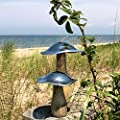 The Farmer's Market Mushrooms, Set of 2, Decorative Kitchen Sculpture, Art, Mango Wood and Hammered Silver Metal, 8 1/4 and 5 1/2 Inches Tall,