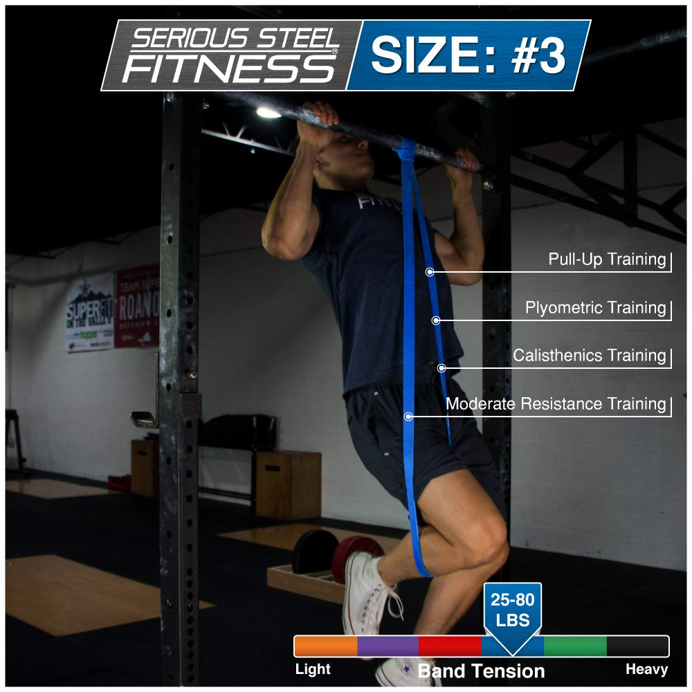 """Serious Steel Fitness Blue - #3 Light Pull-Up Assist & Stretching Resistance Band (Size: 1.125""""W, Resistance: 20-80lbs) Pull-Up and Starter Band e-Guide INCLUDED by Serious Steel Fitness (Image #4)"""