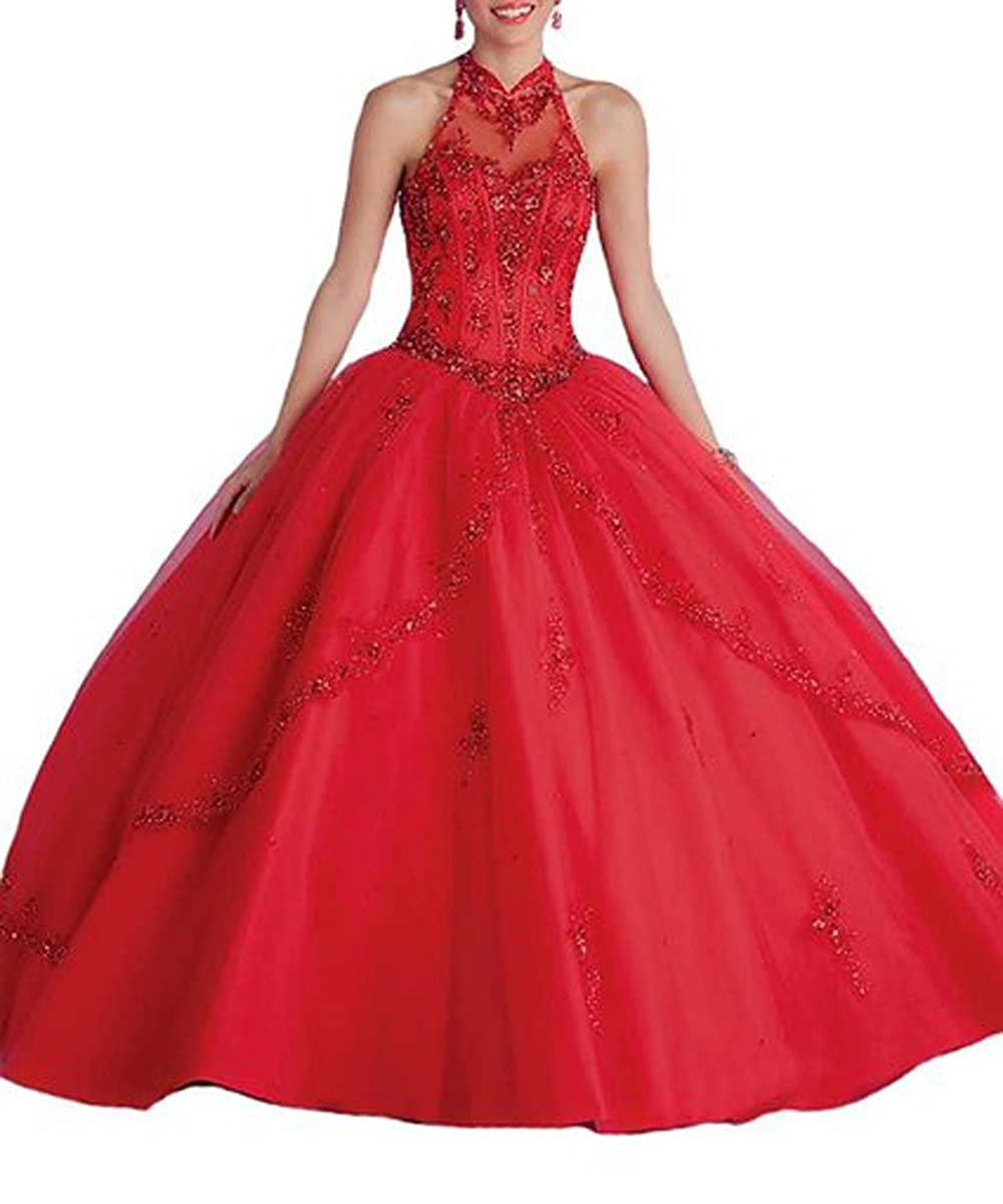 Red Ellenhouse Women's Beaded High Neck Backless Christmas Quinceanera Dresses EL048