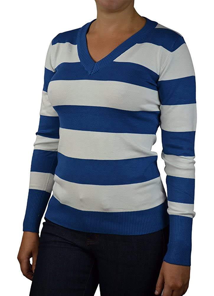 Alfa Global Women's Long Sleeve V-Neck Striped Ultra Soft Knit Sweater Top