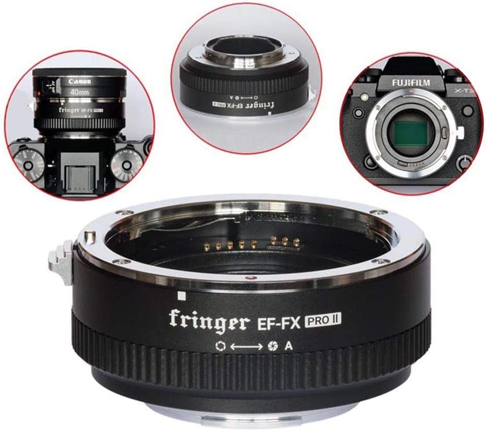 Fringer EF-FX Pro II Lens Adapter Auto Fouce Mount Electronic Aperture for Canon EOS Sigma Tamron Lens to Fujifilm XT4 XT3 XT2 XT20 XH1 X100V X-H X-T X-PRO X-E
