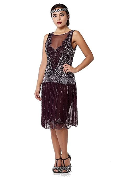 1920s Plus Size Flapper Dresses, Gatsby Dresses, Flapper Costumes Elaina Vintage Inspired Drop Waist Flapper Dress in Plum $118.00 AT vintagedancer.com