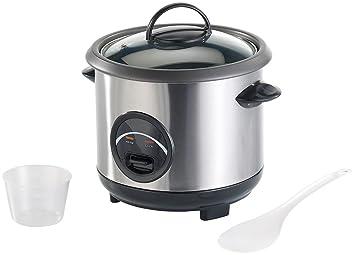 Rosenstein & Söhne Rice Kocher: Edelstahl-Reiskocher mit automatischer Warmhalte-Funktion, 0,6 Liter (Kochtöpfe)