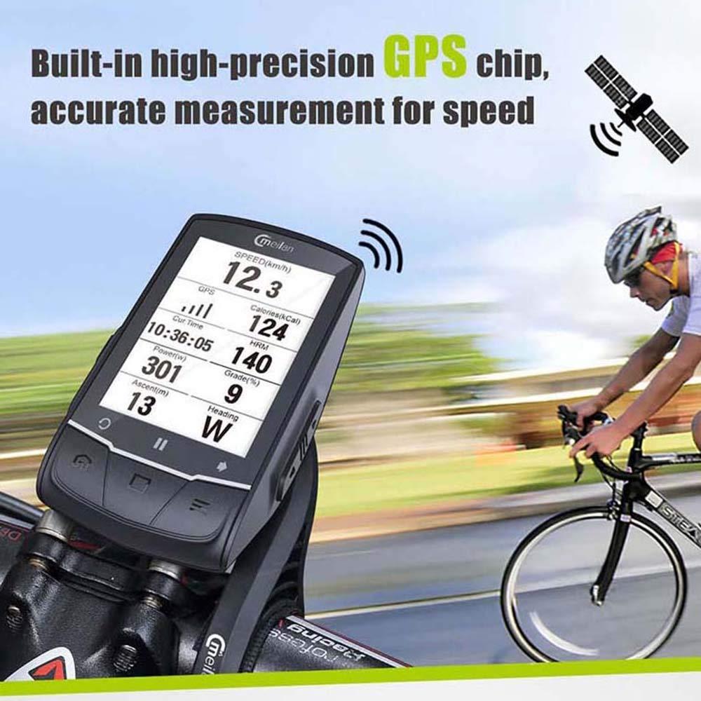 MeiLan GPS para Bicicleta de Ciclismo y Ordenador M1 para Bicicleta, GPS de Giro, se Puede conectar con cadencia/Ritmo cardíaco/medidor de Potencia (no ...