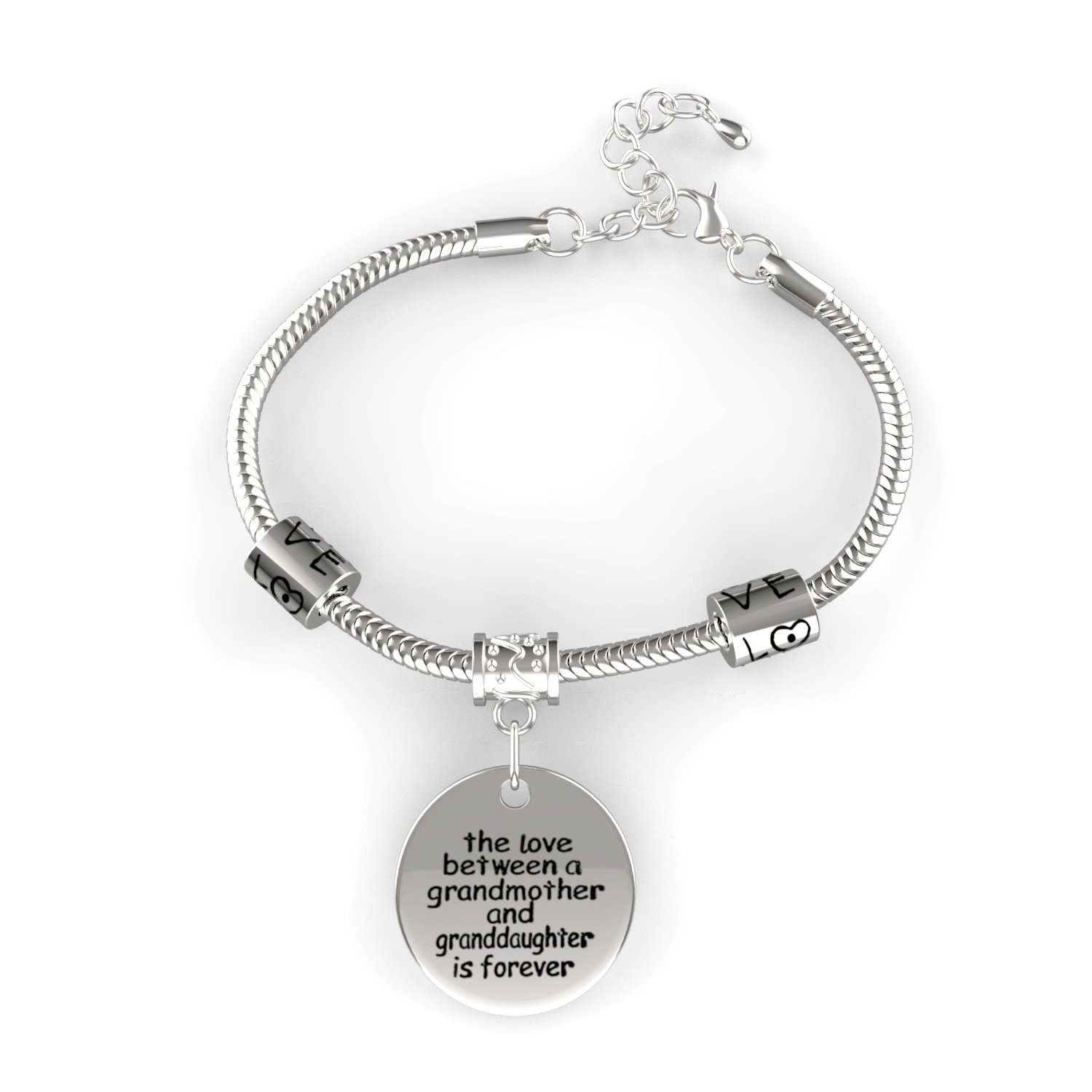 a9cf0c14f Amazon.com: Love Between a Grandmother and Granddaughter is Forever Bracelet  - Family Jewelry Gift - 10'': Jewelry