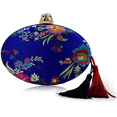 Amazon.com: ULKpiaoliang Mujeres Vintage Floral Rojo Clutch ...