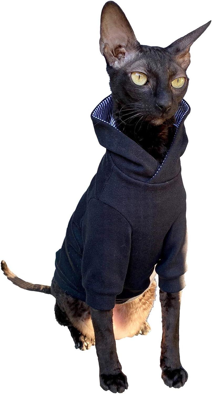 Kotomoda Sphynx Cat Sudadera con Capucha para Gatos Color Gris Oscuro