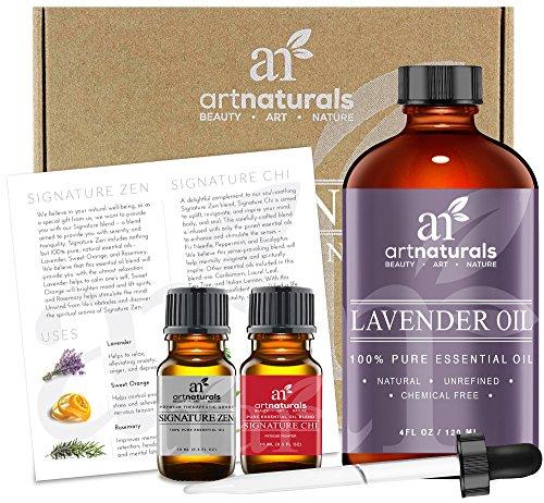 Art Naturals 3-teiliges Lavendelöl Set 120 ml Lavendelöl, 10 ml Lavendelöl & 10 ml Signature Zenöl | Behandlung von kleinen Wunden | Ideal für die Aromatherapie | 100% Naturrein