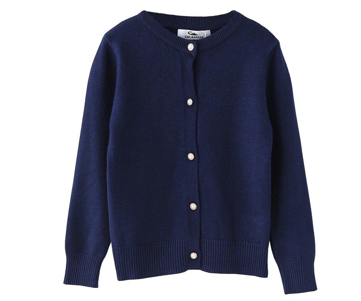 SMILING PINKER Little Girls Crewneck Cardigans Button Knitted Uniform Sweaters Solid Long Sleeves(5-6,Navy Blue)