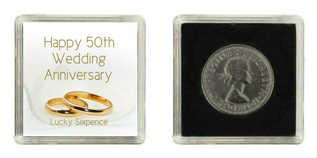Lucky Sixpence Coin 50th Golden Wedding Anniversary Gift Great Present Idea Amazoncouk Baby